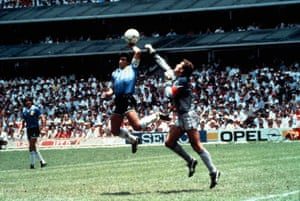 Maradona punches the ball over Shilton to score Argentina's first