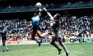 Diego Maradona scores past Peter Shilton by infamously nefarious means.