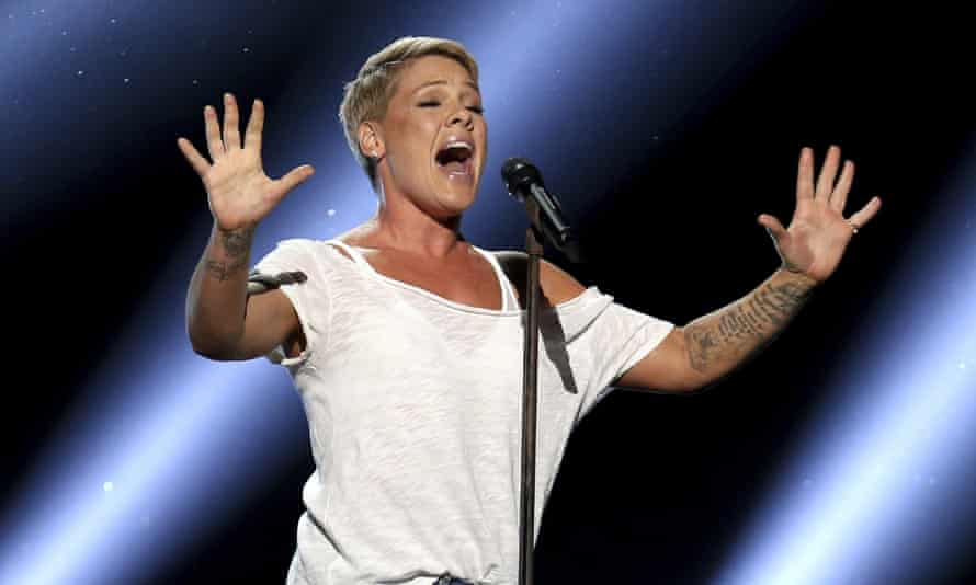 Pink performs at the 60th annual Grammy awards.