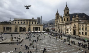 An art installation in Bogotá, Colombia, shows the names of activists killed in 2019.