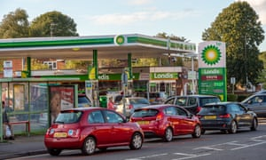 Petrol rationing, Slough, Berkshire, UK - 27 Sep 2021Mandatory Credit: Photo by Maureen McLean/REX/Shutterstock (12472213c) Motorists were queuing for petrol today at a BP garage in Slough. Customers were limited to purchasing only £30 of petrol and no diesel was available. Panic buying of petrol and diesel has continued over the past few days due to a shortage of drivers making fuel deliveries following Brexit and the Covid-19 Pandemic Petrol rationing, Slough, Berkshire, UK - 27 Sep 2021