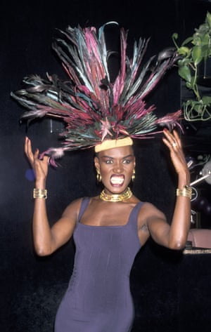 Jones clearly knows how to celebrate a birthday – for her 42nd in 1990, she hired Stringfellows in New York and invited guests including Naomi Campbell. The hat game was still strong, of course, and was matched with an era-appropriate bodycon dress. Photo by Ron Galella/WireImage