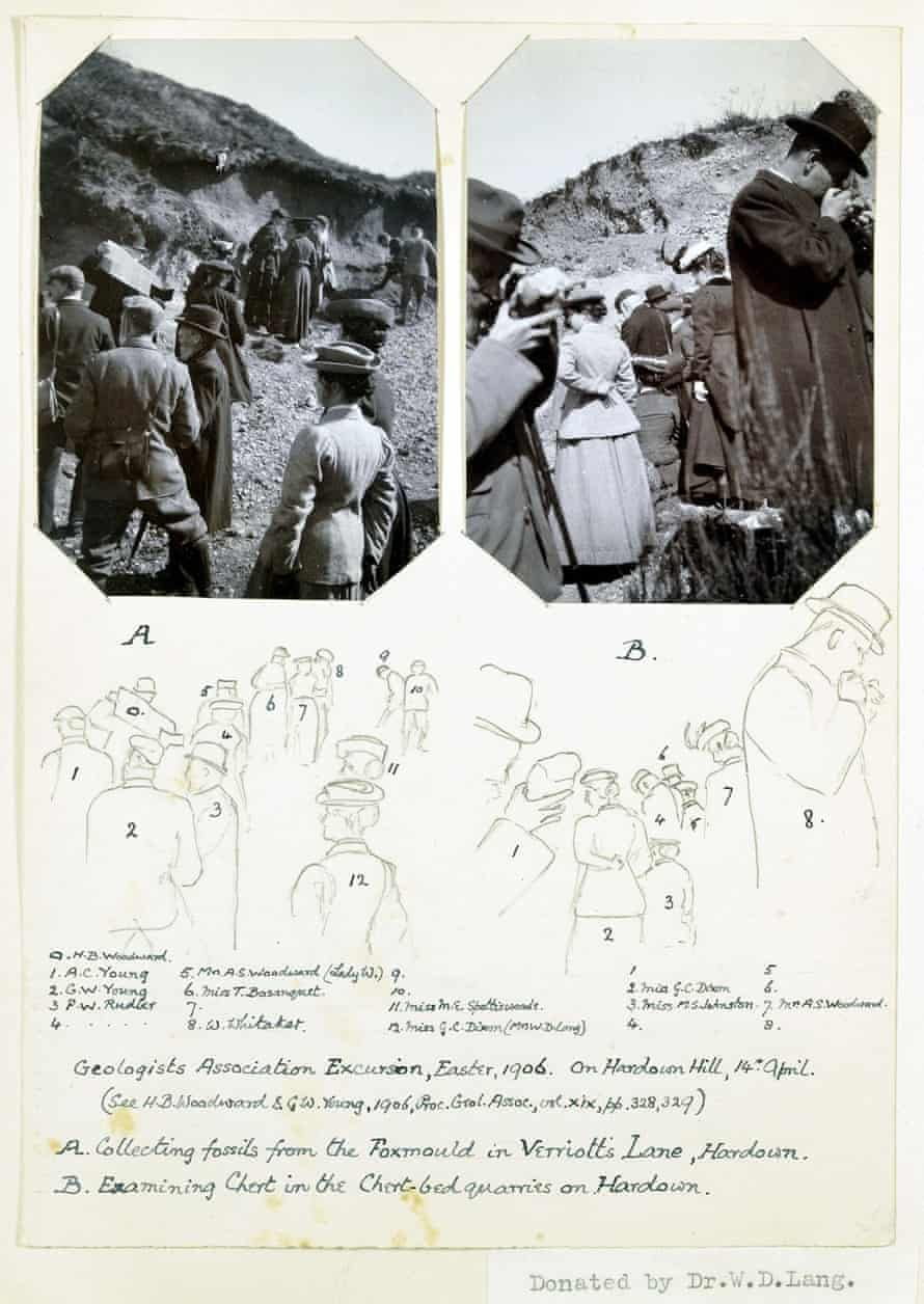 Members of the Geologists' Association intent on examining the formations during a 1906 excursion to Hardown Hill, Lyme Regis. Page from album donated by Miss M.S. Johnston (seated, number 3).