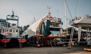 Jamie Green's old fishing boat, the Galwad, grounded at Medina Yard in Cowes, Isle of Wight, in March 2020.