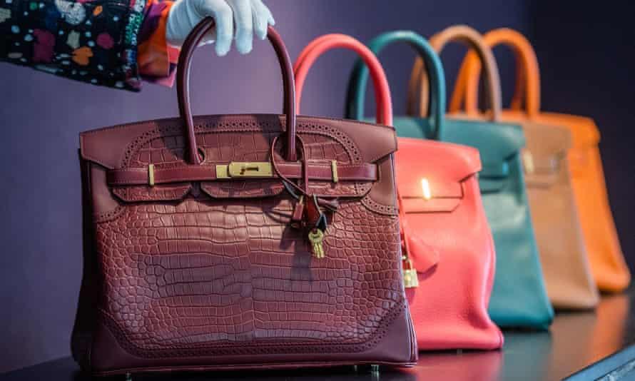 Row of Hermès handbags