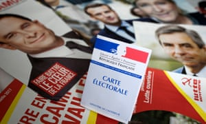 French presidential election voter card, with pics of candidates
