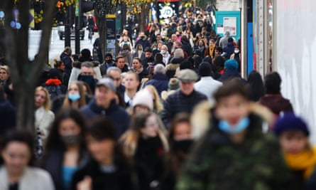 Shoppers gather on Oxford Street in London on the first Sunday after the end of the second national lockdown in England.
