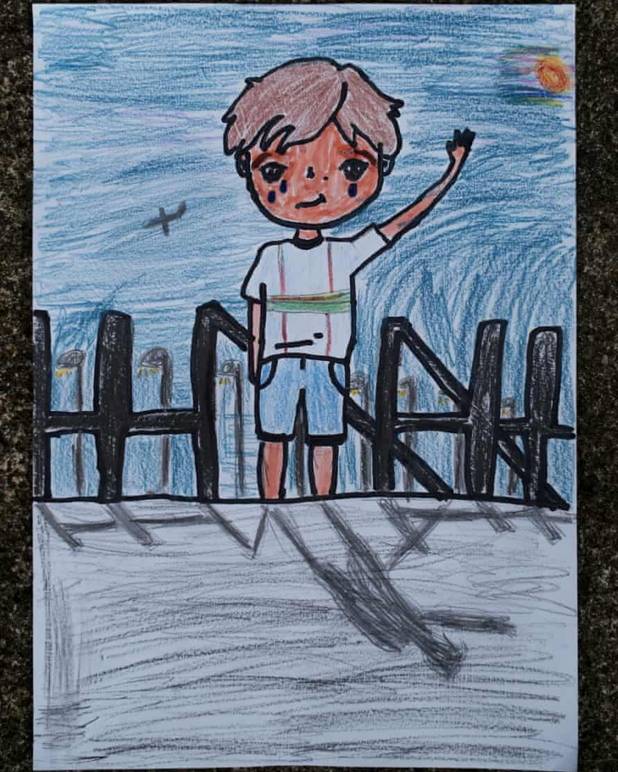 Aryan Nair 8, for a piece about Generation Y children and how they've coped with lockdown. Also pictured some of his lockdown drawings.