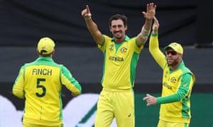 Australia's Mitchell Starc celebrates the wicket of Pakistan's Wahab Riaz.