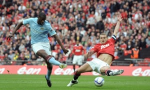 Yaya Touré could dominate big matches, such as here scoring against Manchester United and was a huge influence in their title wins.