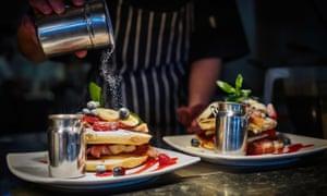 Kiwi-style pancakes at the Mountain Cafe, Aviemore.