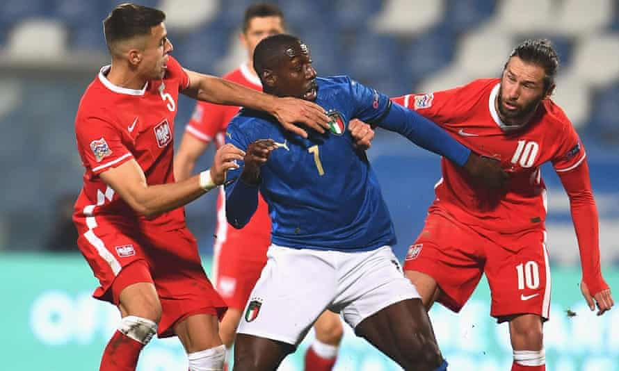 Stefano Okaka in action against Poland in the Nations League on 15 November in his first Italy appearance in four years.