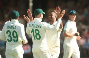 Philander celebrates taking the wicket of Bess for a golden duck.