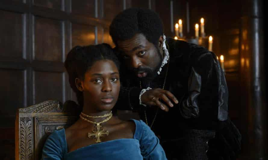 You don't doubt that she came to power ... Jodie Turner-Smith as Anne Boleyn with Paapa Essiedu as her brother George.