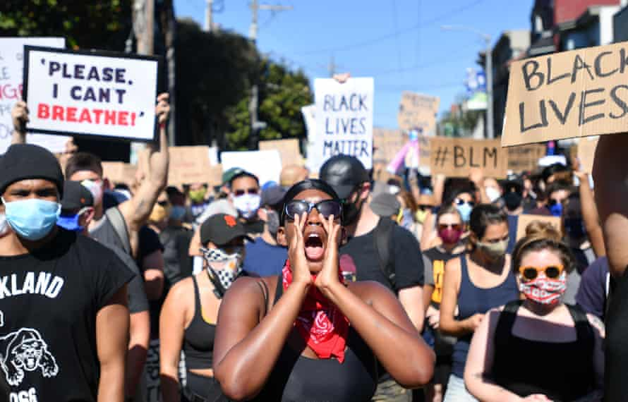 Protesters in San Francisco rally against police brutality after the death of George Floyd, June 2020