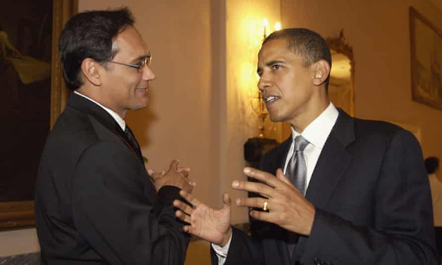 Prescience … Jimmy Smits, whose character became president, with then senator Barack Obama in 2005, three years before he was elected.