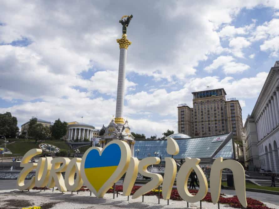 General view of the Eurovision sign outside of the Eurovision Village on May 11, 2017 on Kreschatyk Street in Kiev, Ukraine.