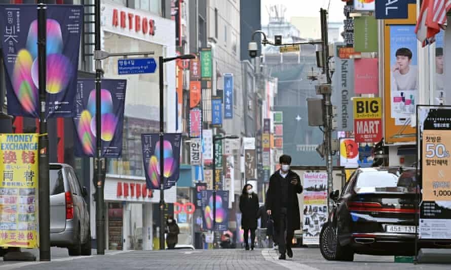 A shopping district in Seoul, South Korea.