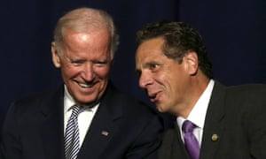 Vice-President Joe Biden appears with New York governor Andrew Cuomo on the stage at an event to discuss the economy