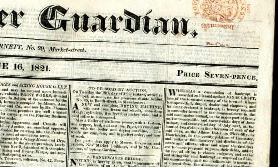 Copy of the Manchester Guardian from 16 June 1821