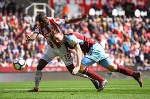 Bruno Martins Indi of Stoke City and Chris Wood of Burnley compete for the ball during the 1-1 draw at the Bet365 Stadium.
