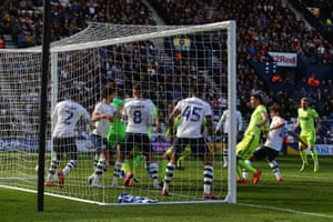 Sheffield United's David McGoldrick scores the only goal of the first half at Deepdale.