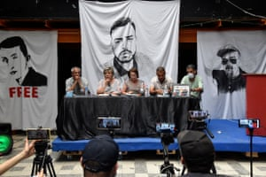 Supporters of the pro-democracy Hirak movement, give a press conference in Algiers.