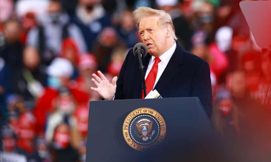 Donald Trump speaks in Muskegon, Michigan.