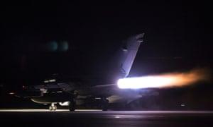 An RAF Tornado takes off from Akrotiri, Cyprus, on 14 April.