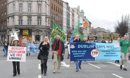 An anti-austerity protest is held in Dublin, March 2016.