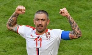 Aleksandar Kolarov celebrates his winner for Serbia in their opening Group E game against Costa Rica at the Samara Arena.