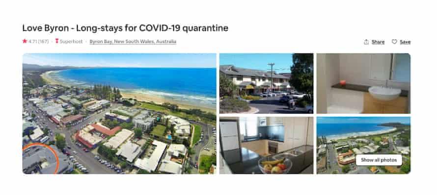 A screen grab of a 'Quarantine rental' ad