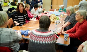 Gloria De Piero, left, Labour MP for Ashfield in Nottinghamshire, speaks to constituents at a knitting group