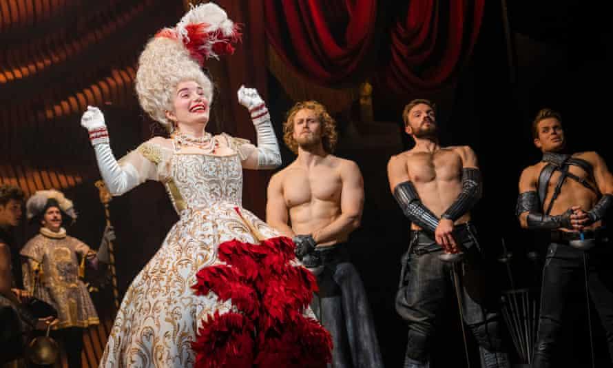 Rebecca Trehearn as the Queen, with Sam Robinson (Dorian), Vinny Coyle (Arthur) and Giovanni Spano (Gawain) in Cinderella.