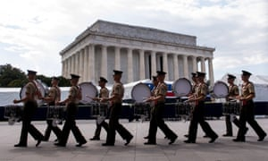 A marching band practises before Donald Trump's 'Salute to America' Independence Day event honouring the military