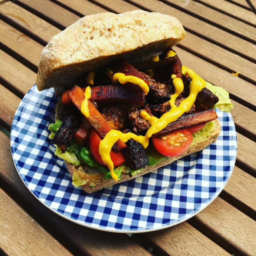 Tempeh and carrot sandwich from the Thug Kitchen book.