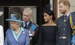 The Queen, Duke and Duchess of Sussex and Prince Andrew at Buckingham Palace.