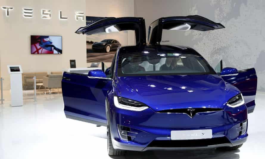 A Tesla Model X electric car.