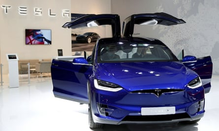 A Tesla Model X electric car.