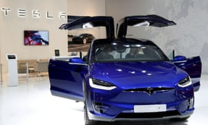 A Tesla Model X electric car is seen at Brussels Motor Show