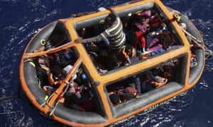A float with rescued migrants during an operation in the Mediterranean Sea.