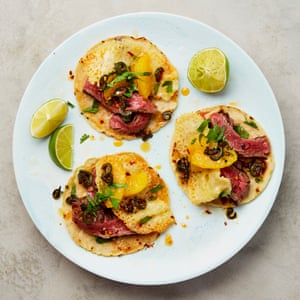 Yotam Ottolenghi's steak and cheese tacos with orange and jalapeño.
