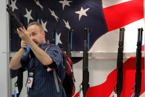 A gun enthusiast during the annual National Rifle Association convention in Dallas, Texas, on 5 May 2018.