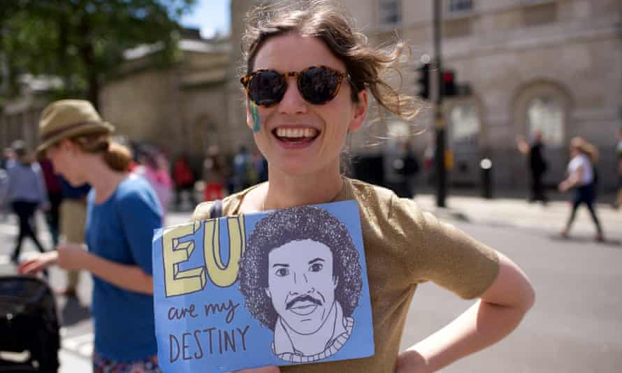 A woman at an anti-Brexit march in July.