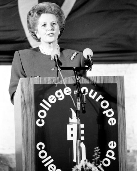 Margaret Thatcher speaking at the College of Europe in Bruges, 1988.