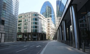 A deserted street in central London.