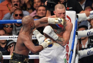 Floyd Mayweather Jnr v Conor McGregor - T-Mobile ArenaFloyd Mayweather Jnr defeats Conor McGregor during their fight at the T-Mobile Arena, Las Vegas. PRESS ASSOCIATION Photo. Picture date: Saturday August 26, 2017. See PA story BOXING Las Vegas. Photo credit should read: Lionel Hahn/PA Wire. RESTRICTIONS: Editorial use only. No commercial use.