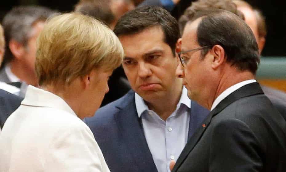Angela Merkel, Alexis Tsipras and François Hollande talk at the eurozone leaders summit in Brussels.
