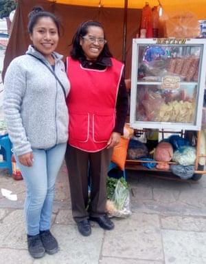 Yalitza with street food vendor Rocío Reyes in Tlaxiaco main square taken November 2018.
