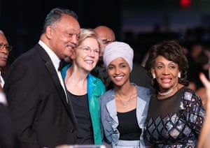 Jesse Jackson, Elizabeth Warren, Ilhan Omar and Maxine Waters at an awards dinner in Washington on Saturday